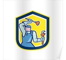 Plumber Wielding Plunger Wrench Shield Cartoon Poster