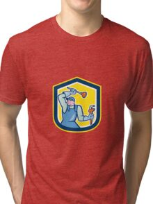 Plumber Wielding Plunger Wrench Shield Cartoon Tri-blend T-Shirt