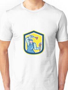 Plumber Wielding Plunger Wrench Shield Cartoon Unisex T-Shirt