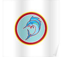 Sailfish Fish Jumping Circle Cartoon Poster