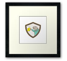 Trout Fish Holding Beer Mug Shield Cartoon Framed Print