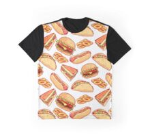 Pattern with burgers, sandwiches, tacos, hot dogs and onion rings. Graphic T-Shirt