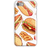 Pattern with burgers, sandwiches, tacos, hot dogs and onion rings. iPhone Case/Skin
