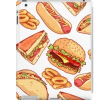 Pattern with burgers, sandwiches, tacos, hot dogs and onion rings. iPad Case/Skin