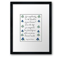 Go Confidently inspirational handwritten quote Framed Print