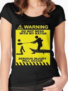 Kayak Warning! Women's Fitted Scoop T-Shirt