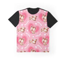 Pink pattern with cute kitten. Graphic T-Shirt