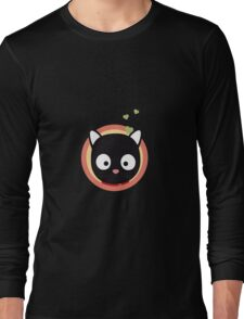 Black Cute Cat With Hearts Long Sleeve T-Shirt