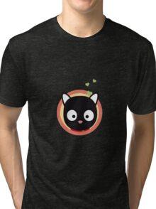 Black Cute Cat With Hearts Tri-blend T-Shirt