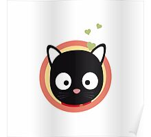 Black Cute Cat With Hearts Poster