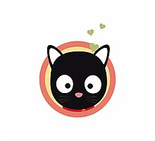 Black Cute Cat With Hearts Photographic Print