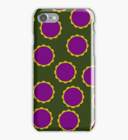 Khaki Green 1970s Flower Power Print iPhone Case/Skin