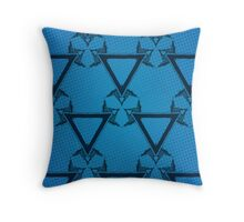 Triangle Halftone Blue Throw Pillow