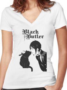 black butler Women's Fitted V-Neck T-Shirt