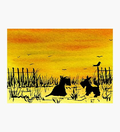 Scottie Dogs 'Beach Sunset' watercolour Photographic Print