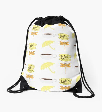 dragonfly omnia coffe Drawstring Bag