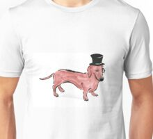Watercolour and stencil print sausage dog with top hat and monacle Unisex T-Shirt