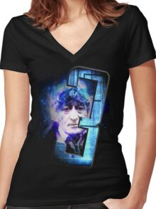 Dr Who The Third Doctor Jon Pertwee T-Shirt Women's Fitted V-Neck T-Shirt