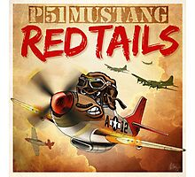 """WINGS Series """"P-51 RED TAILS"""" Photographic Print"""