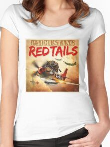 "WINGS Series ""P-51 RED TAILS"" Women's Fitted Scoop T-Shirt"