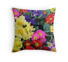 primroses in spring Throw Pillow