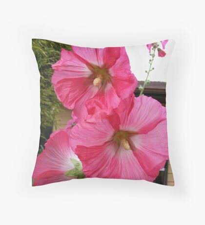 PINK HOLLYHOCK FLOWER BLOSSOMS Throw Pillow
