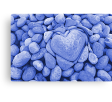 heart love stones in the quarry Canvas Print