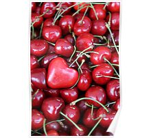 cherries with heart love Poster