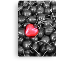 cherries with heart love Canvas Print