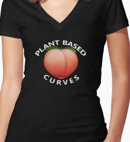Plant Based Curves (Peach Emoji) Women's Fitted V-Neck T-Shirt