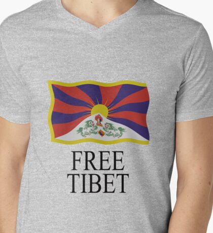 Free Tibet Mens V-Neck T-Shirt