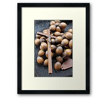 crown and crucifix in wood Framed Print
