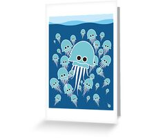 Bloom of blue jellyfish Greeting Card