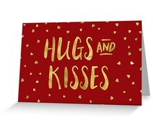 Red and Faux Gold Hugs & Kisses Hearts Valentine Greeting Card