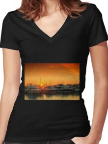 Marina Sunset Women's Fitted V-Neck T-Shirt