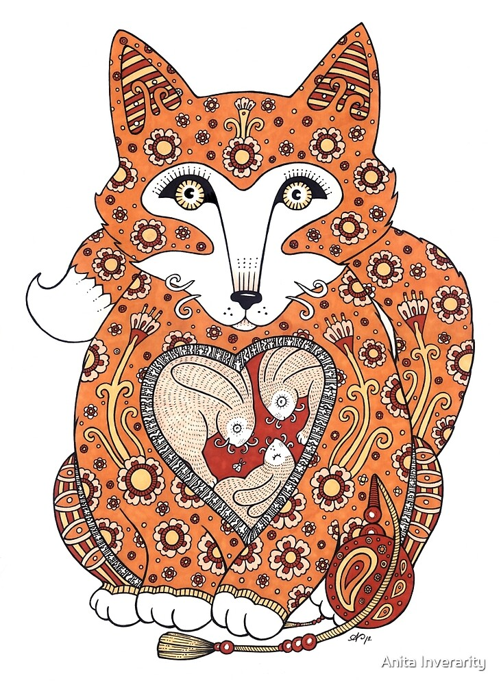 Floral Fox Cub by Anita Inverarity