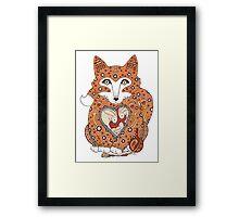 Floral Fox Cub Framed Print