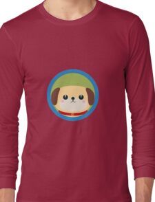 Cute puppy dog with blue circle Long Sleeve T-Shirt
