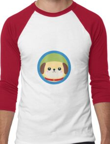 Cute puppy dog with blue circle Men's Baseball ¾ T-Shirt