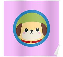 Cute puppy dog with blue circle Poster