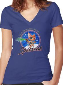 Spacecat Women's Fitted V-Neck T-Shirt