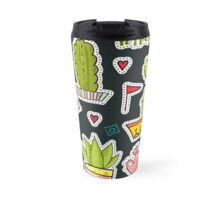 Cacti and succulents in pots. Pins and patches Travel Mug