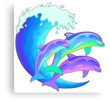 Psychedelic Dolphins Canvas Print