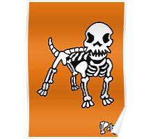 Poly Dog Orange Background Poster