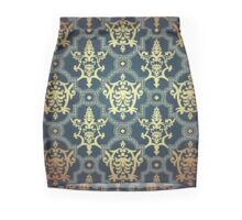 vintage,royal,gold navy blue,damask,floral,pattern,wall paper,elegant,chic,formal,beautiful Mini Skirt