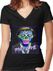 THEY LIVE - Blue & Green Women's Fitted V-Neck T-Shirt