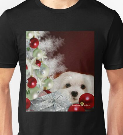 Snowdrop the Maltese at Christmas Unisex T-Shirt