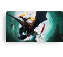 Toothless fighting Canvas Print