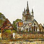 A digital painting of Whippingham Church, Isle of Wight, England in the 19th century by Dennis Melling