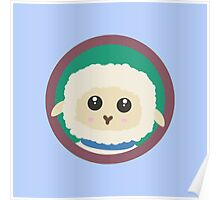 Cute Sheep with purple Circle Poster
